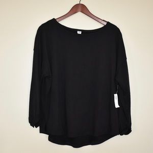 Loose French Terry Top Black